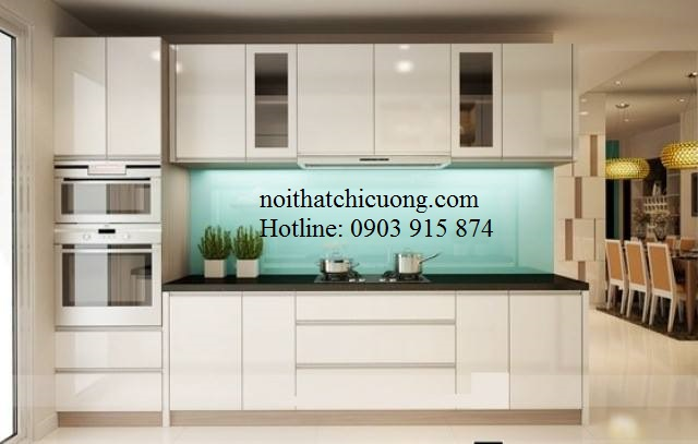 Nội Thất Phòng Bếp-Tủ Bếp Chữ I Sơn Trắng -058