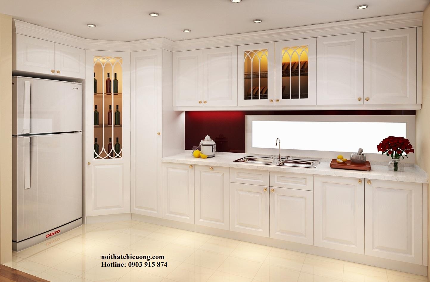 Nội Thất Phòng Bếp - Tủ Bếp Chữ L Sơn Trắng - 106