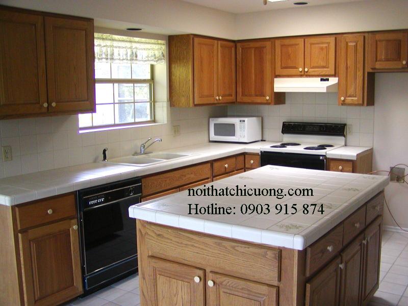 Nội Thất Phòng Bếp - Tủ Bếp Có Bàn Đảo Gỗ Sồi - 040