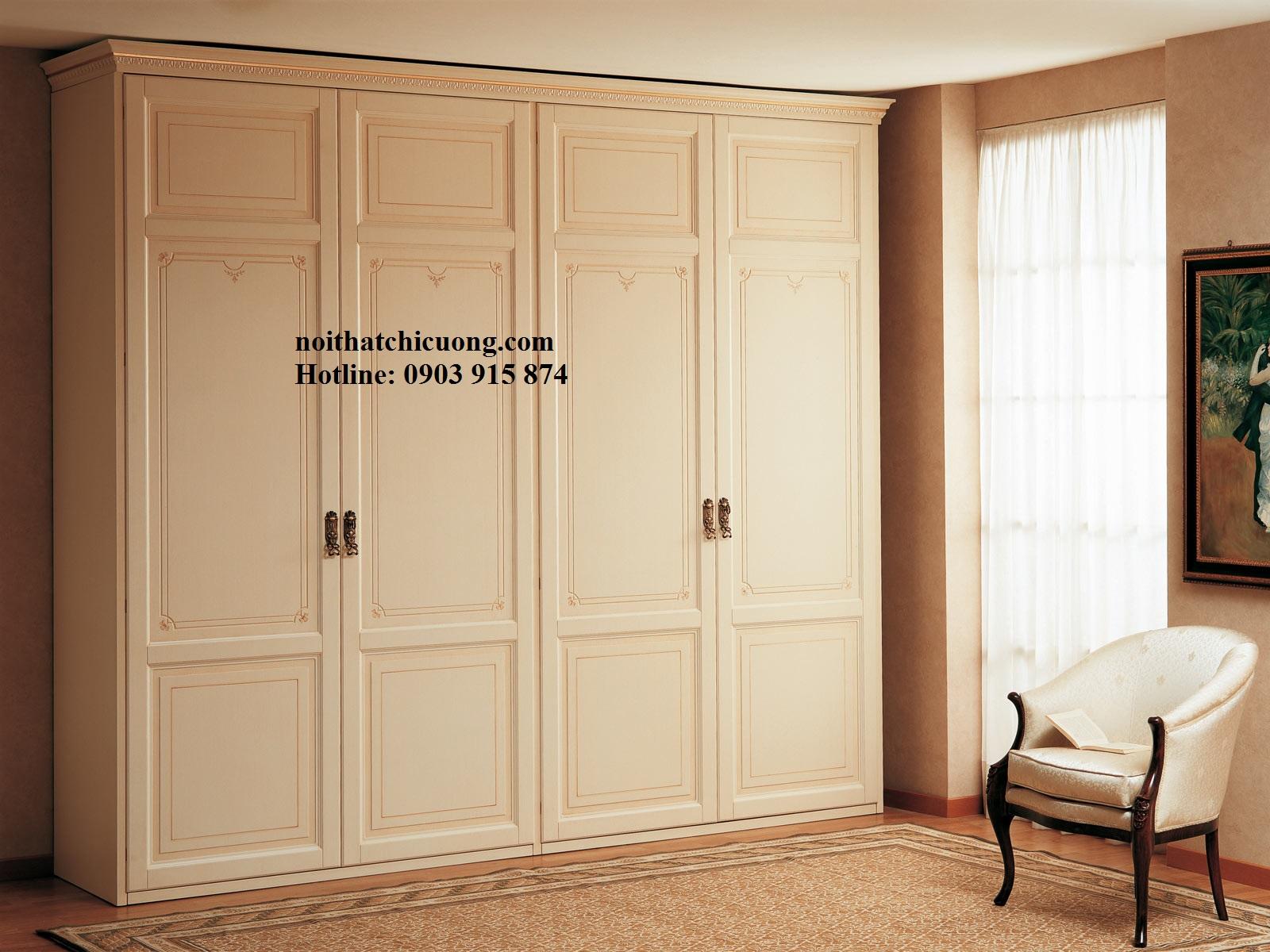 Nội Thất Phòng Ngủ - Tủ Quần Áo Cánh Mở Sơn Trắng - 054