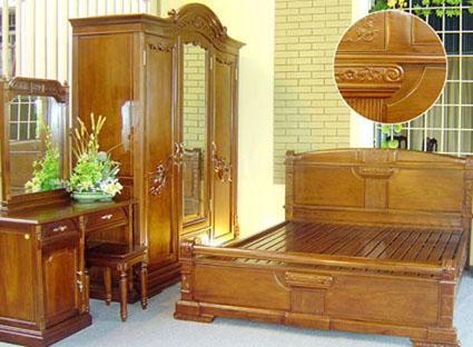 Giường Ngủ Cổ Điển Cho Nhà Đẹp - Gỗ Căm Xe-059