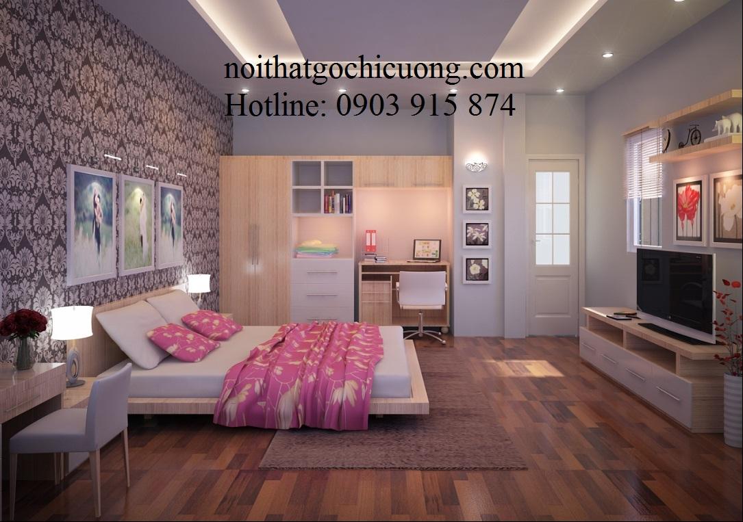 Nội Thất Phòng Ngủ -Giường Ngủ Gỗ Căm Xe -098