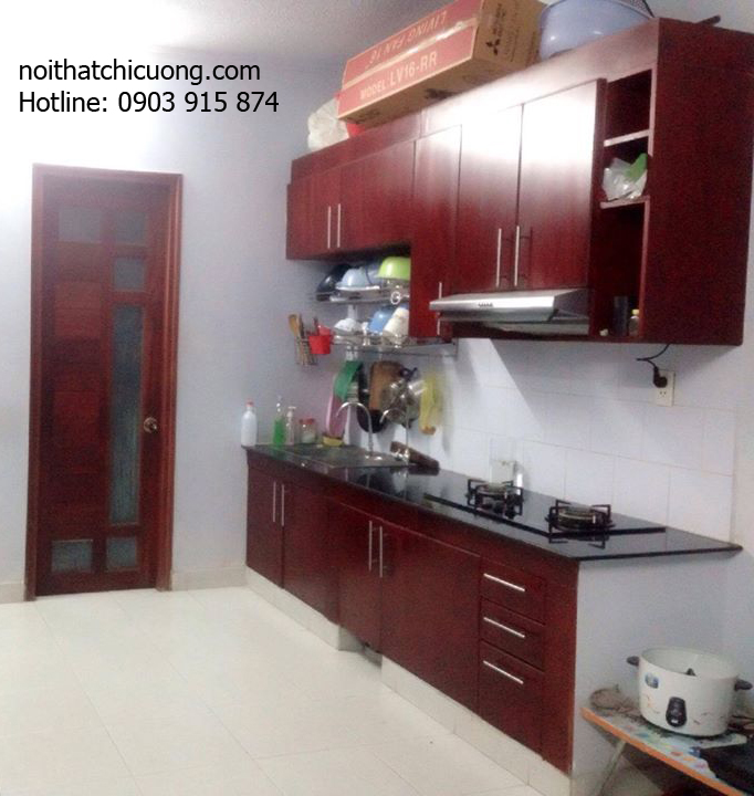 Nội Thất Phòng Bếp-Tủ Bếp Chữ I Gỗ Gỏ Đỏ -056