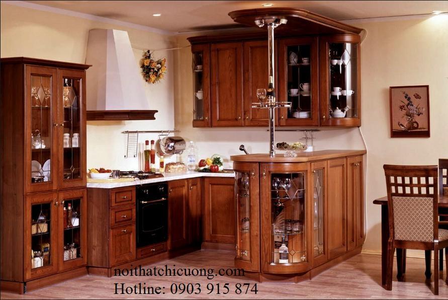 Nội Thất Phòng Bếp-Tủ Bếp Chữ U Gỗ Gỏ Đỏ -067
