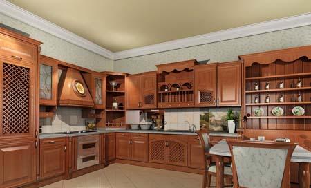 Tủ Bếp Cổ Điển Châu Âu - Gỗ Gỏ Đỏ Hiện Đại -007