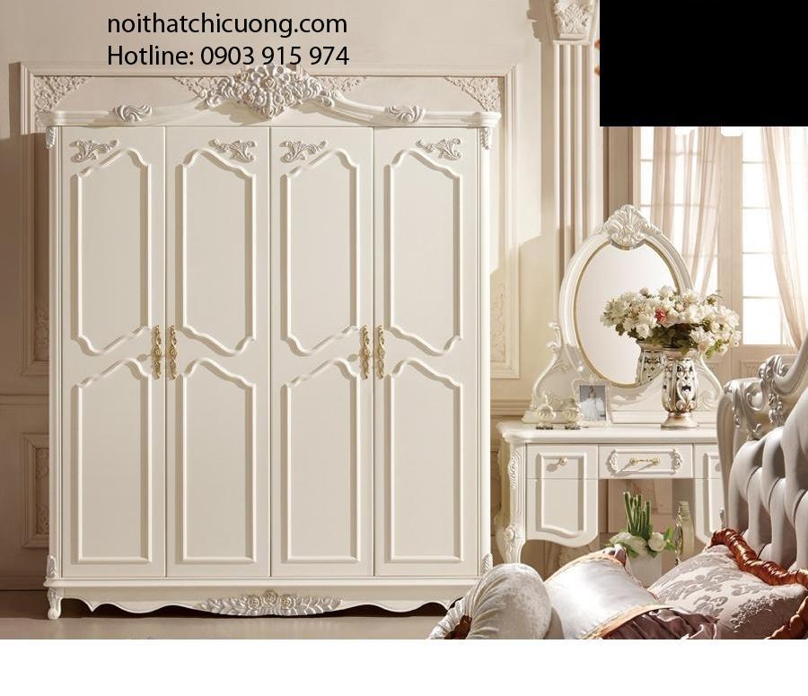 Nội Thất Phòng Ngủ- Tủ Quần Áo Cảnh Mở Sơn Trắng-046
