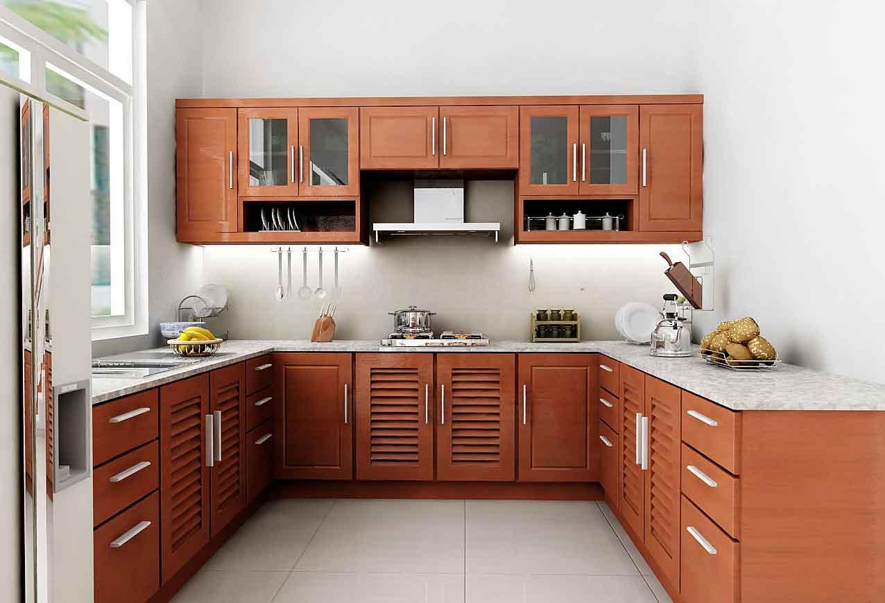 Tủ Bếp Dạng Chữ U Nhà Phố Gỗ Gỏ Đỏ Đẹp -025