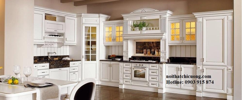 Nội Thất Phòng Bếp -Tủ Bếp Cổ Điển Châu Âu Sơn Trắng - 041