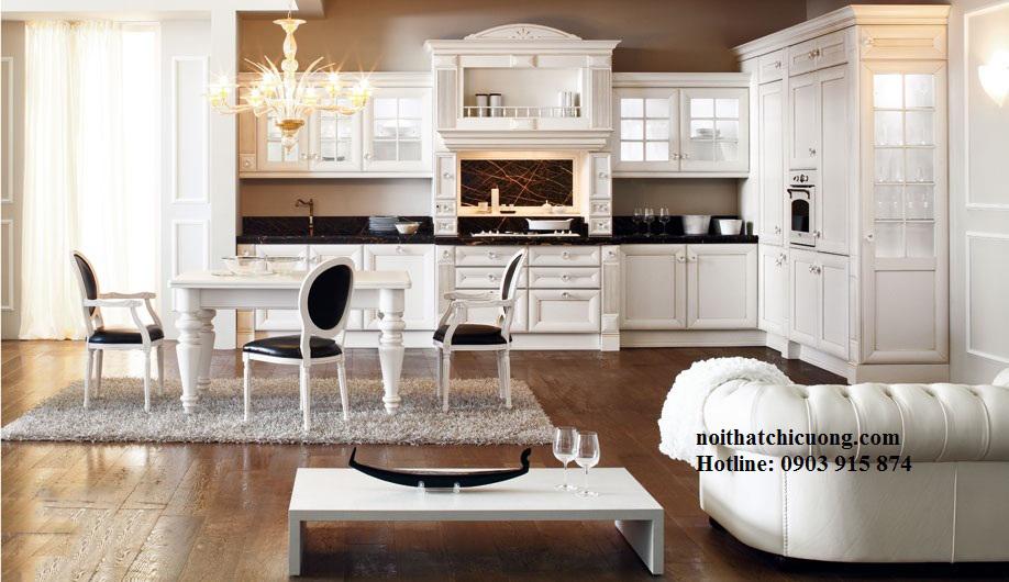 Nội Thất Phòng Bếp -Tủ Bếp Cổ Điển Châu Âu Sơn Trắng - 042