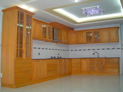 Tủ Bếp Dạng Chữ L Cho Nhà Phố - Gỗ Cẩm Lai Chất Lượng -054