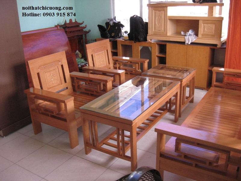 Bàn Ghế Phòng Khách Gỗ Xoan Đào -017