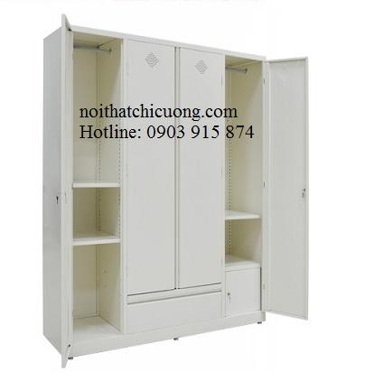 Nội Thất Phòng Ngủ- Tủ Quần Áo Cánh Mở Sơn Trắng -045