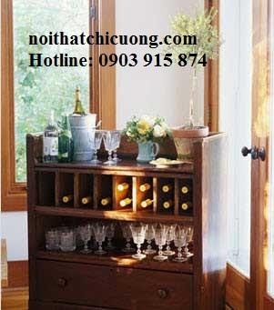 Tủ Rượu Cao Cấp Cho Nhà Phố Hiện Đại - Gỗ Gỏ Đỏ -018