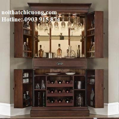 Tủ Rượu Phòng Khách - Gỗ Gỏ Đỏ Bền Đẹp -019