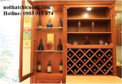 Tủ Rượu Cho Phòng Khách - Gỗ Gỏ Đỏ Cao Cấp -020
