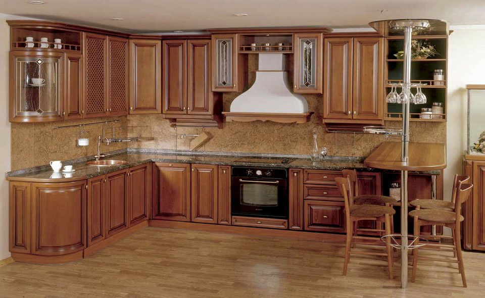 Tủ Bếp Dạng Chữ L Cho Nhà Phố - Gỗ Gỏ Đỏ Đơn Giản-062