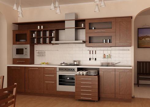 Tủ Bếp Dạng Chữ I Cho Nhà Phố Sang Trọng - Gỗ Gỏ Đỏ -038