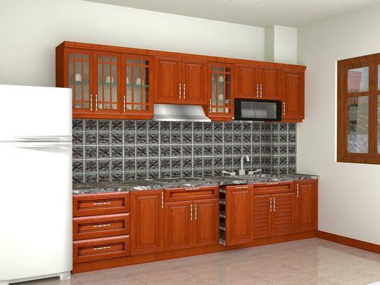 Tủ Bếp Dạng Chữ I Cho Nhà Phố - Gỗ Xoan Đào Cao Cấp -032