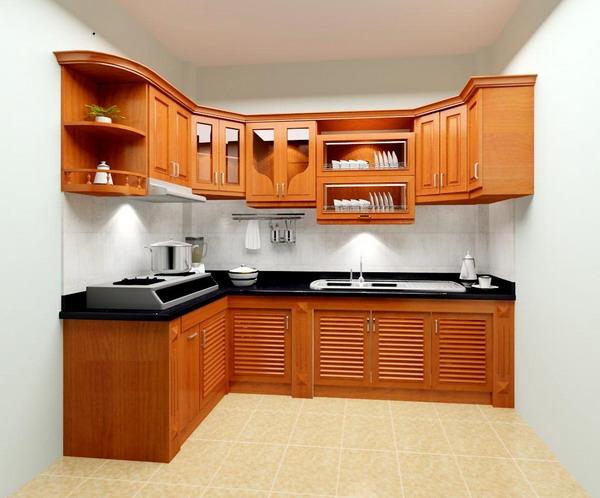 Tủ Bếp Dạng Chữ L Cổ Điển Gỗ Căm Xe -006