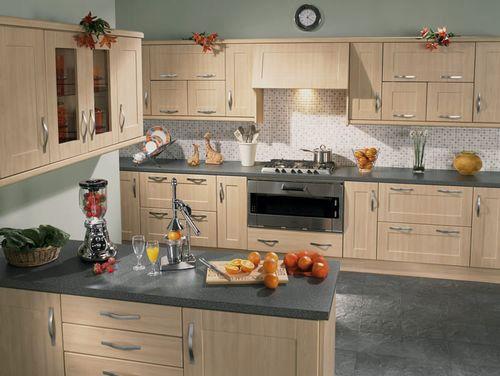 Tủ Bếp Dạng Chữ U - Gỗ Sồi Cổ Điển -004
