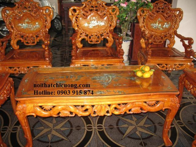 Bàn Ghế Phòng Khách Đẹp - Gỗ Huỳnh Đàng -034