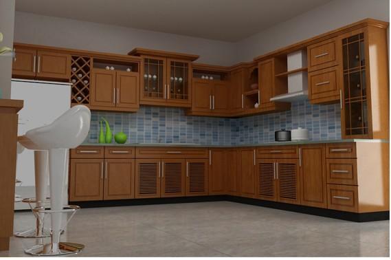 Tủ Bếp Dạng Chữ L Đẹp Cho Nhà Phố - Gỗ Gỏ  -021