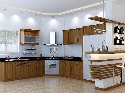 Tủ Bếp Dạng Chữ L Cho Phòng Bếp Gia Đình - Gỗ Xoan Đào - 066