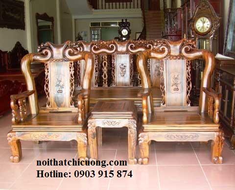 Bàn Ghế Phòng Khách Gỗ Cẩm Lai Cổ Điển -052