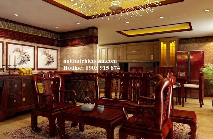 Bàn Ghế Phòng Khách Sang Trọng - Gỗ Gỏ Đỏ -070
