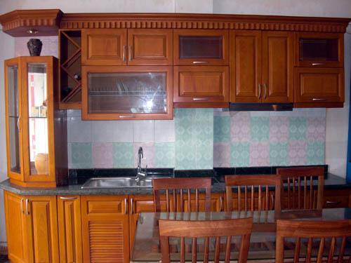 Tủ Bếp Dạng Chữ I Cho Nhà Phố - Gỗ Cẩm Lai Hiện Đại -037