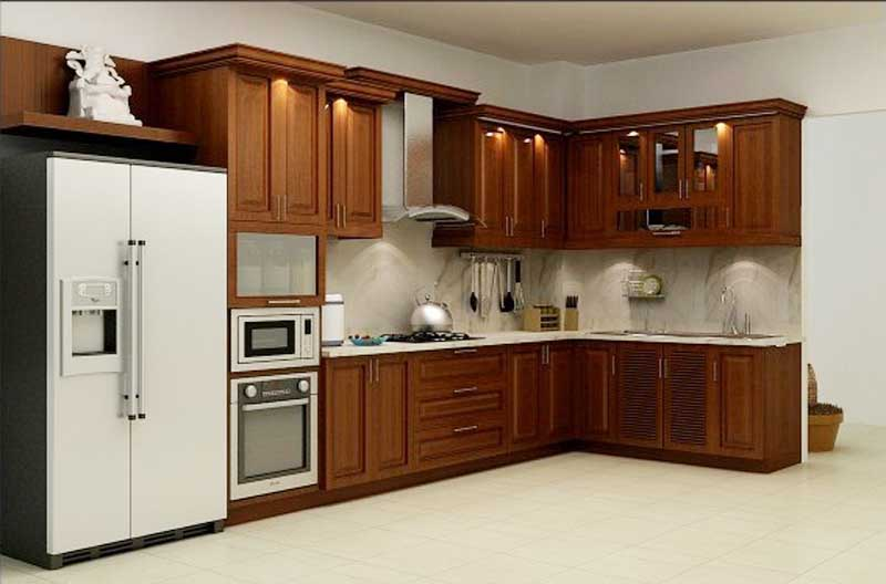 Tủ Bếp Dạng Chữ L Phong Cách Hiện Đại - Gỗ Xoan Đào -022