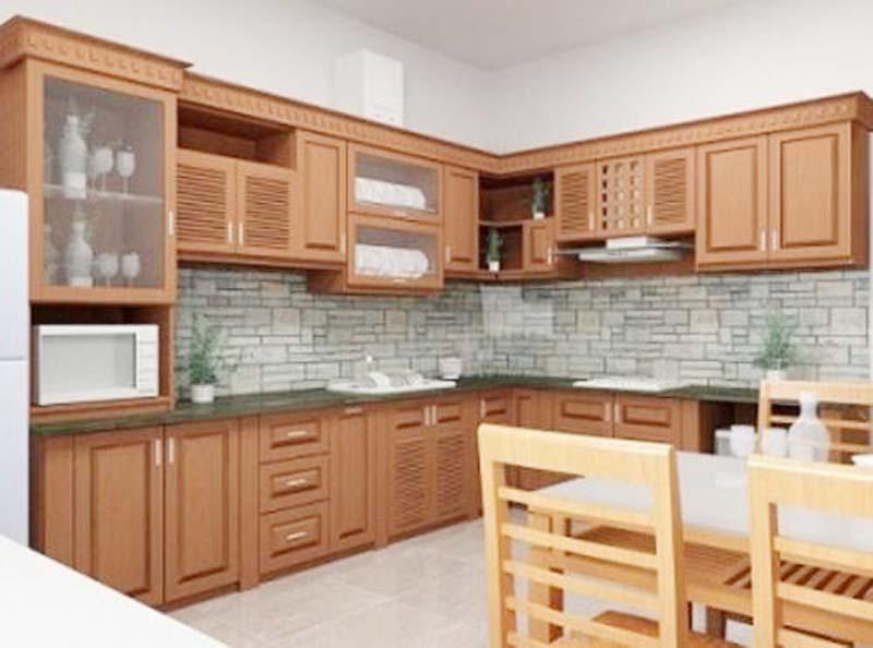 Tủ Bếp Dạng Chữ L Cổ Điển Gỗ Gỏ Đỏ -018