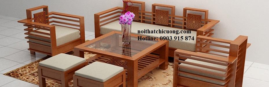 Bàn Ghế Phòng Khách Đẹp - Gỗ Sồi Đơn Giản -086