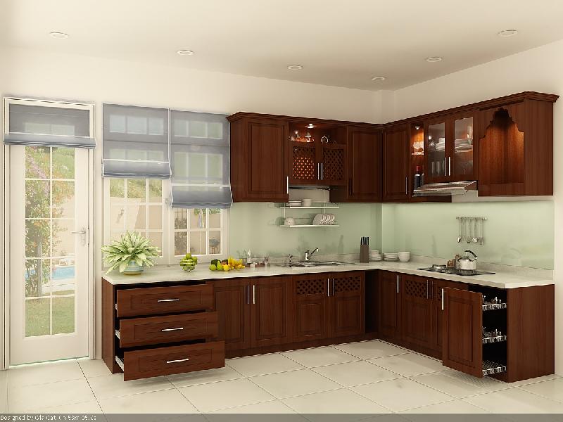 Tủ Bếp Dạng Chữ L Cho Nhà Phố - Gỗ Căm Xe Đẹp Tự Nhiên -033