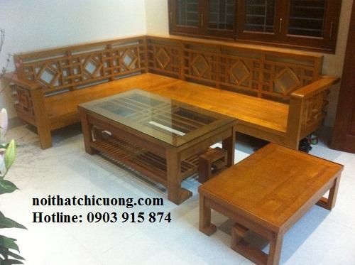Bàn Ghế Phòng Khách Đẹp - Gỗ Huỳnh Đàng Đơn Giản-094
