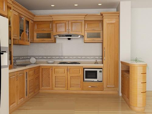 Tủ Bếp Dạng Chữ L Cho Phòng Bếp Gia Đình - Gỗ Cao Su Đẹp- 052