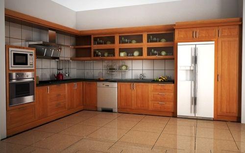 Tủ Bếp Dạng Chữ L Cho Nhà Phố - Gỗ Cẩm Lai Sang Trọng -063