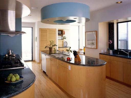 Tủ Bếp Có Bàn Đảo Hiện Đại -  Gỗ Sồi Tự Nhiên -015