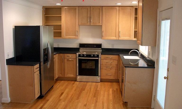 Tủ Bếp Dạng Chữ U Cho Nhà Phố - Gỗ Sồi Đẹp Hiện Đại -047