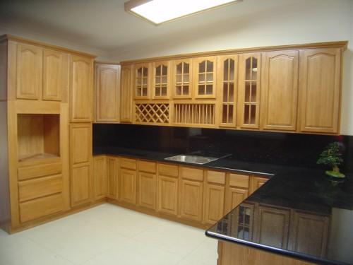 Tủ Bếp Dạng Chữ L Cho Nhà Phố - Gỗ Sồi - 056