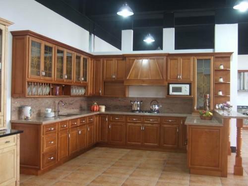 Tủ Bếp Dạng Chữ U Nhà Phố Gỗ Căm Xe Đẹp -012