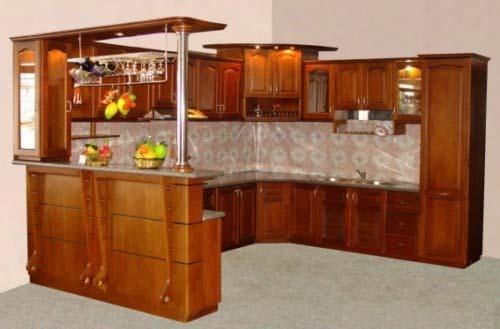 Tủ Bếp Dạng Chữ U Nhà Phố Gỗ Xoan Đào Đẹp -017