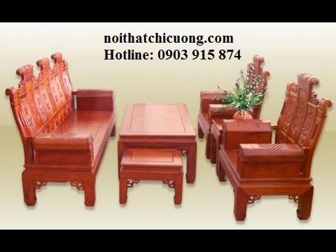 Bàn ghế phòng khách - Gỗ gỏ đỏ đẹp -001