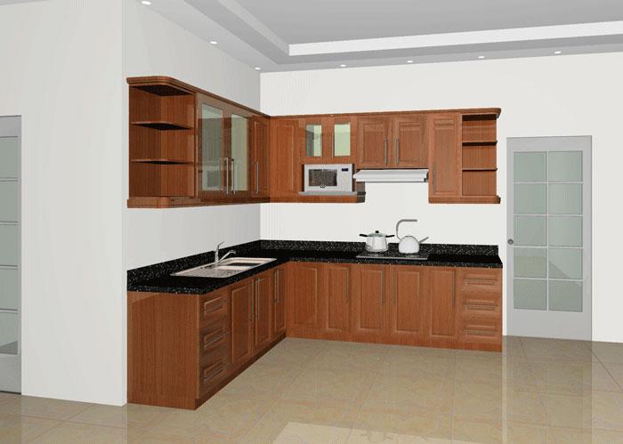 Tủ Bếp Dạng Chữ L Cổ Điển Gỗ Huỳnh Đàng-002