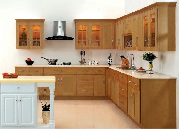 Tủ Bếp Dạng Chữ L Cho Phòng Bếp Gia Đình - Gỗ Xoan Đào -064