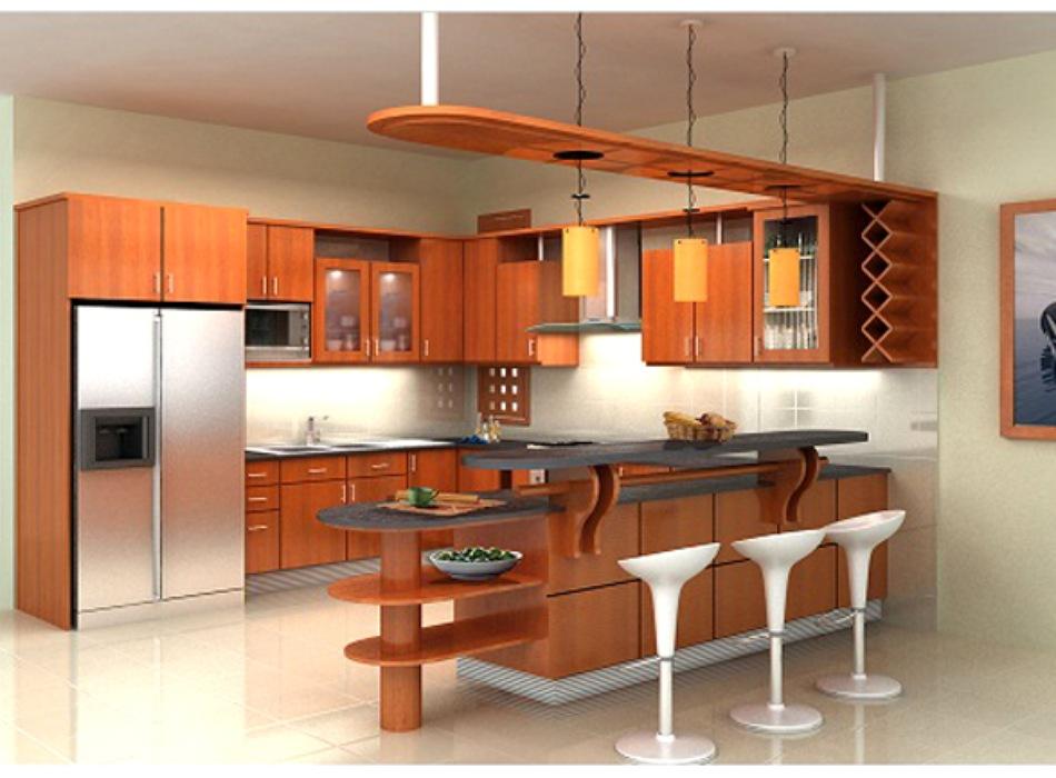 Tủ Bếp Có Bàn Đảo - Gỗ Căm Xe Tự Nhiên