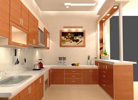 Tủ Bếp Dạng Chữ U Cho Nhà Phố - Gỗ Xoan Đào Đẹp -038