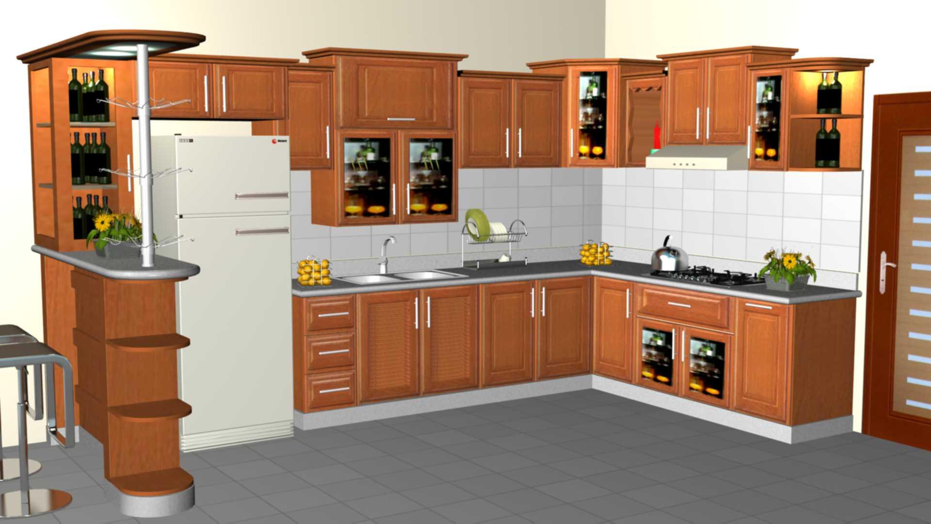 Tủ Bếp Dạng Chữ L Cho Phòng Bếp Gia Đình - Gỗ Gỏ Đỏ Hiện Đại-065