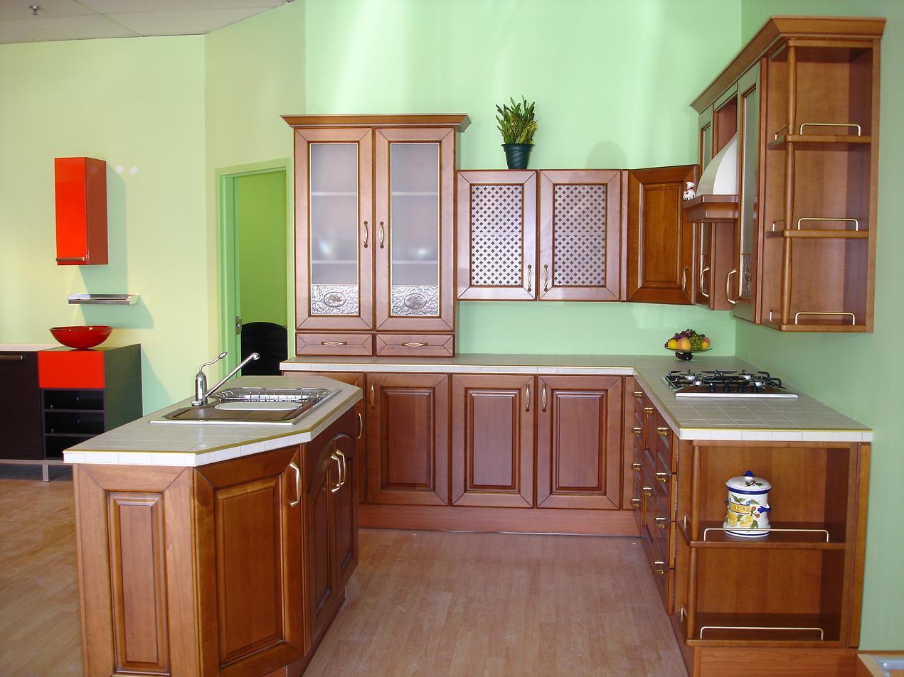 Tủ Bếp Dạng Chữ U Cho Nhà Phố Hiện Đại - Gỗ Gỏ Đỏ -050