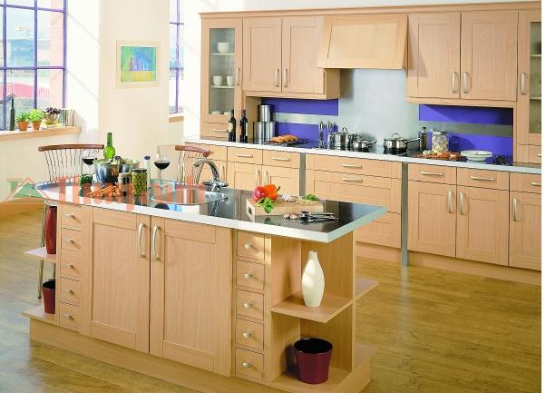 Tủ Bếp Có Bàn Đảo Cổ Điển - Gỗ Sồi Đẹp -018